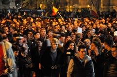 Protestez contre le premier ministre Victor Ponta et le gouvernement roumain Photos stock
