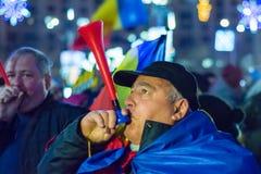 Protestez contre les lois de la justice à Bucarest images libres de droits