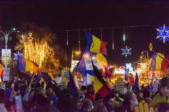 Protestez contre les lois de la justice à Bucarest photo stock
