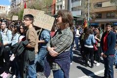 Protestez la démonstration des étudiants et des étudiants universitaires dans Alicante Photographie stock