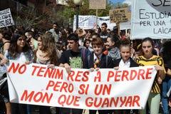 Protestez la démonstration des étudiants et des étudiants universitaires dans Alicante Photographie stock libre de droits