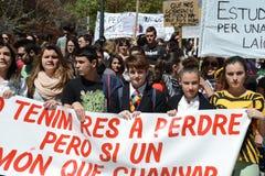 Protestez la démonstration des étudiants et des étudiants universitaires dans Alicante Images stock