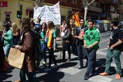 Protestez la démonstration des étudiants et des étudiants universitaires dans Alicante Photos libres de droits