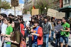 Protestez la démonstration des étudiants et des étudiants universitaires dans Alicante Images libres de droits