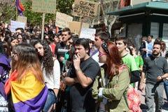 Protestez la démonstration des étudiants et des étudiants universitaires dans Alicante Image libre de droits