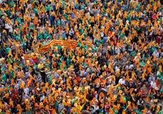 Protestez la pro culture et langue catalannes de la Catalogne en île espagnole de Majorque photos libres de droits