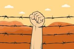 Protestez le signe avec le poing et le barbelé de main comme désert de fond et de montagne Photos stock