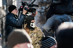Protesthandlingen i centrala Kyiv Royaltyfri Fotografi