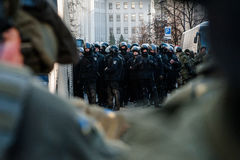 Protesthandlingen i centrala Kyiv Royaltyfri Foto