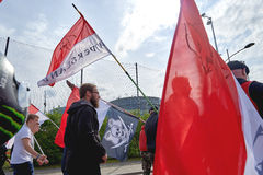 Protesti contro fusione della regione dell'Alsazia con la Lorena e Champa Immagini Stock