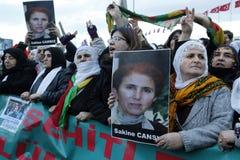 Protesti contro l'uccisione dei membri di PKK a Costantinopoli Immagine Stock