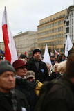 Protesti contro la distruzione della divisione dei poteri, il comitato di protesta la difesa della democrazia (KOD), Poznan, Polo Fotografie Stock Libere da Diritti