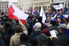 Protesti contro la distruzione della divisione dei poteri, il comitato di protesta la difesa della democrazia (KOD), Poznan, Polo Fotografia Stock Libera da Diritti