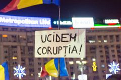 Protesti contro le leggi della giustizia a Bucarest Immagini Stock Libere da Diritti
