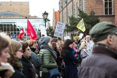 Protesti contro legge di anti-aborto in Polonia, Danzica, 2016 04 24, Immagine Stock Libera da Diritti