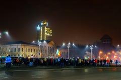 Protesti nel 21th giorno, Bucarest, Romania Immagine Stock Libera da Diritti