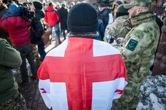 Protestieren Sie Aktion unter dem Kyiv-Gericht von appel Stockbild