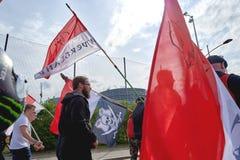 Protestieren Sie gegen Fusion von Elsass-Region mit Lothringen und Champa Stockbilder
