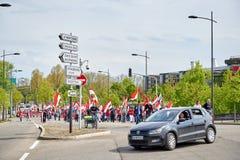Protestieren Sie gegen Fusion von Elsass-Region mit Lothringen und Champa Stockfotografie