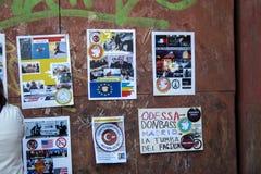 Protestieren Sie Zeichen agains syrischen Krieg und IST Terrorismus im Madrid-Stadtzentrum Lizenzfreie Stockfotografie