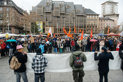 Protestierender erfasst bei Kleber Square, der den Winkel des Leistungshebels der Regierung protestiert Lizenzfreie Stockfotografie