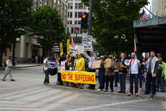 Protestierender für Palästina Israel diskutierend Stockfoto