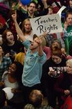 Protestierender innerhalb des Wisconsin-Kapitols Lizenzfreies Stockbild
