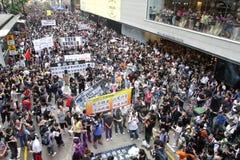 Protestierender-Nachfrage-abweichende Todesprüfspitze in H.K. Stockfoto