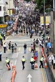 Protestierender-Nachfrage-abweichende Todesprüfspitze in H.K. Stockbild