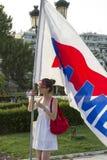Protestierender sammelten in den Straßen in Saloniki durch Mitglieder von Stockfotografie