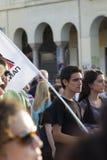 Protestierender sammelten in den Straßen in Saloniki durch Mitglieder von Lizenzfreie Stockfotos