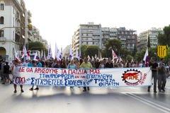 Protestierender sammelten in den Straßen in Saloniki durch Mitglieder von Stockfotos