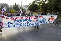 Protestierender sammelten in den Straßen in Saloniki durch Mitglieder von Stockfoto