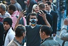 Protestierender während des tahrir Quadrataufstands Stockbild