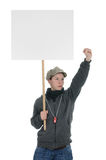 Protesting. Striking protesting person with sign banner Royalty Free Stock Images
