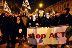 Protesting against ACTA and government Stock Images