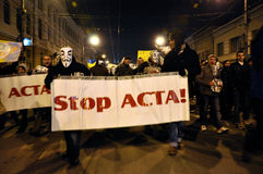 Protesting against ACTA and government Stock Photography