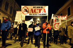 Protesting against ACTA and government Royalty Free Stock Photography