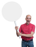 Protesting angry man with placard. Isolated. On white background Royalty Free Stock Photos