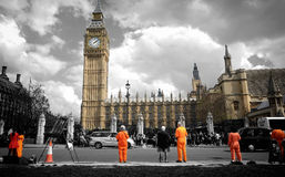Protesting before Big Ben. Shoot in London, uk; some people was protesting before big ben Royalty Free Stock Photo