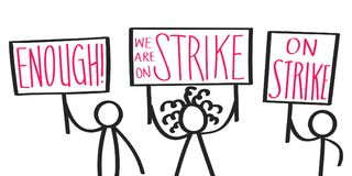 Protesting cartoon stick figures holding up signs saying ON STRIKE, ENOUGH, striking activists. Isolated on white background stock illustration