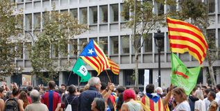 Protests for Catalan Indipendence. Catalonia Referendum: people prostesting in the streets of Barcelona. October 2017. Protesting in Catalonia. People occupied Royalty Free Stock Photos