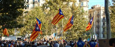 Protests for Catalan Indipendence. Catalonia Referendum: people prostesting in the streets of Barcelona. October 2017. Royalty Free Stock Photos