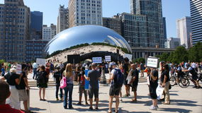 Protesting Before the Chicago Bean. Animal rights group protesting before Chicagos Bean (Cloud Gate) in Millennium Park with skyline in background. September Royalty Free Stock Photo