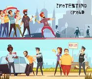 Protesting Crowd Horizontal Banners. Set of police officers and young people with placards loudspeakers and fires on city background cartoon vector illustration Stock Photos
