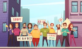 Protesting Crowd Vector Illustration. Protesting crowd of peaceful urban residents walking on streets of city with placards cartoon vector illustration Royalty Free Stock Photos