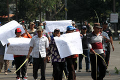 Protesting. Demonstrators protesting reject the election results in the city of Solo, Central Java, Indonesia Royalty Free Stock Photos