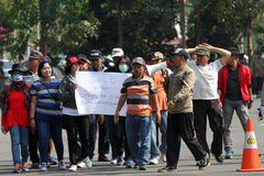 Protesting. Demonstrators protesting reject the election results in the city of Solo, Central Java, Indonesia Stock Image