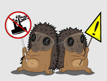 Protesting hedgehogs vector illustration