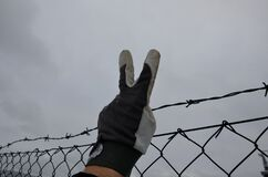 Protesting man in gray tactical gloves overcome a barbed wire fence and get behind a wire fence. showing fingers on hand a sign of